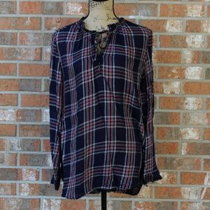 Loft Blue, Gold, White and Red Plaid Shirt Size M